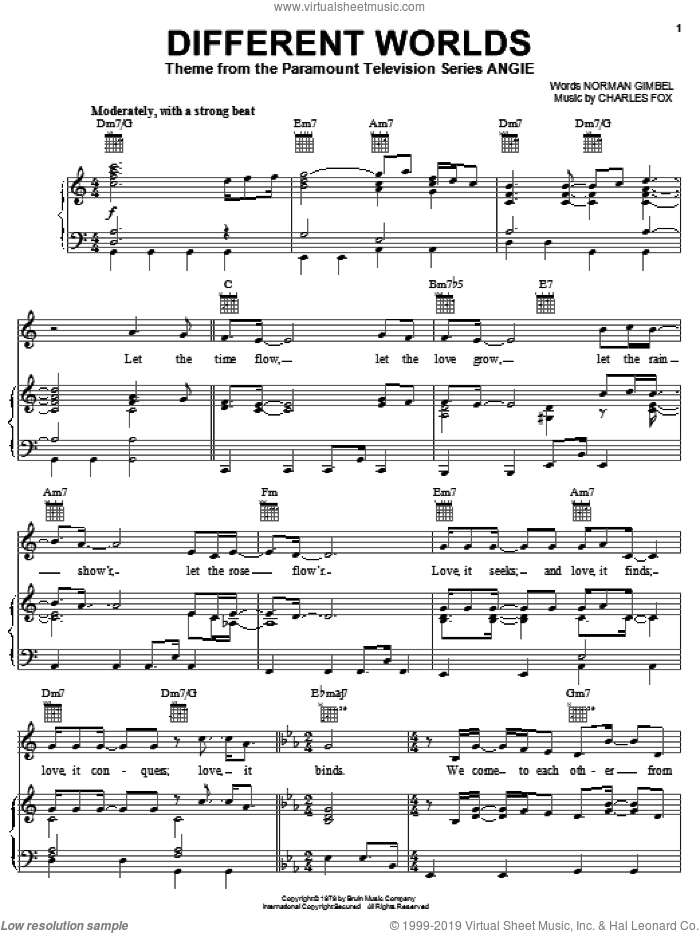 Different Worlds sheet music for voice, piano or guitar by Norman Gimbel and Charles Fox, intermediate skill level