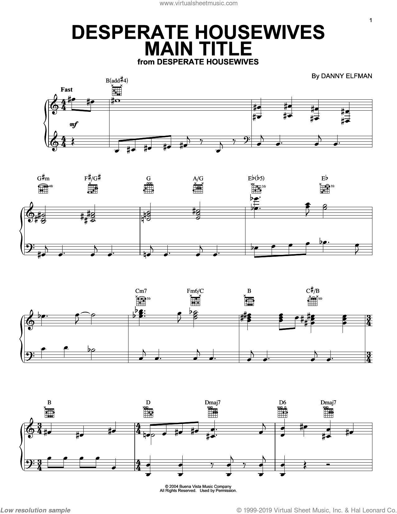 Desperate Housewives Main Title sheet music for piano solo by Danny Elfman, intermediate skill level