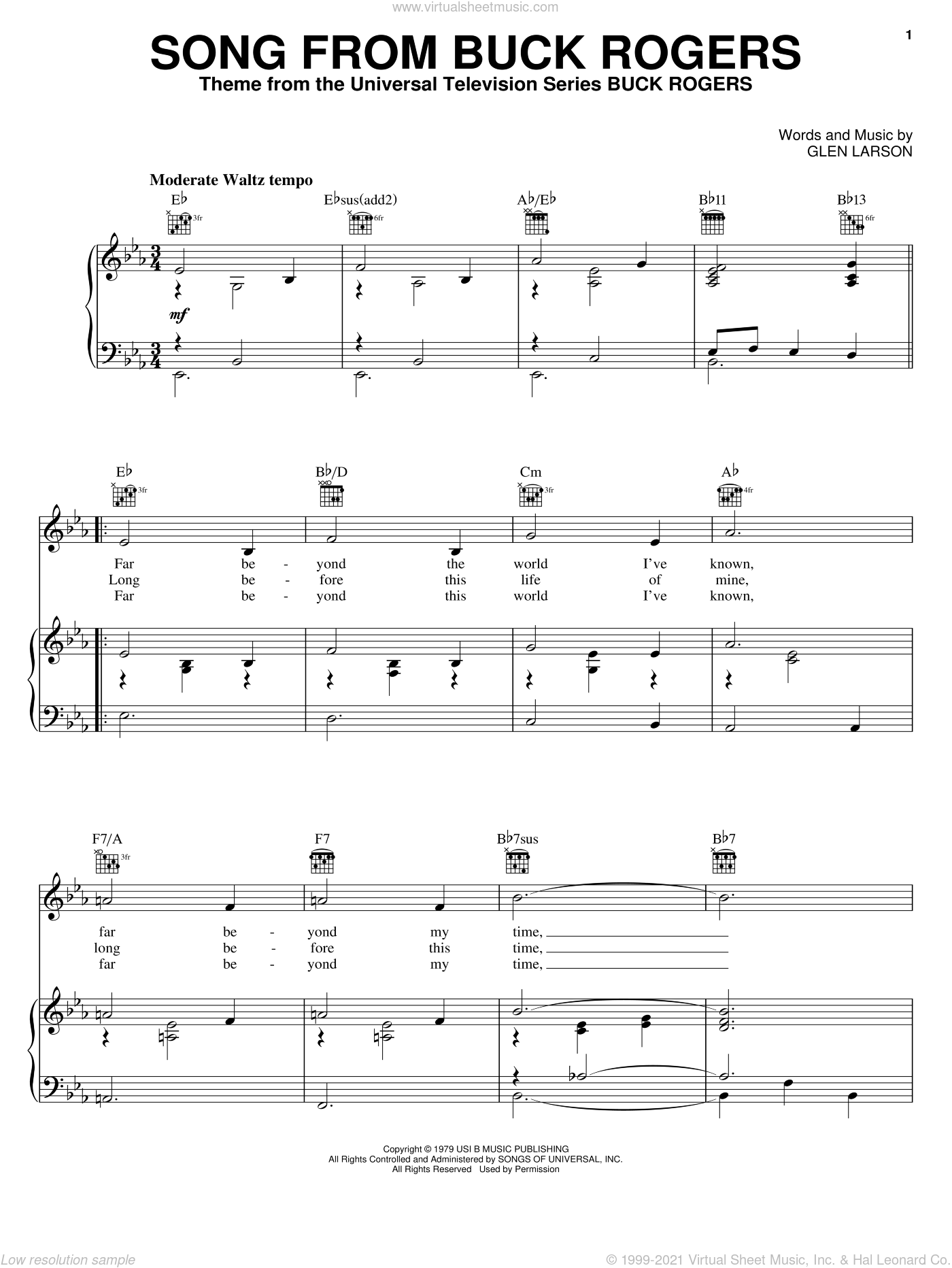 Song From Buck Rogers sheet music for voice, piano or guitar by Glen Larson, intermediate skill level