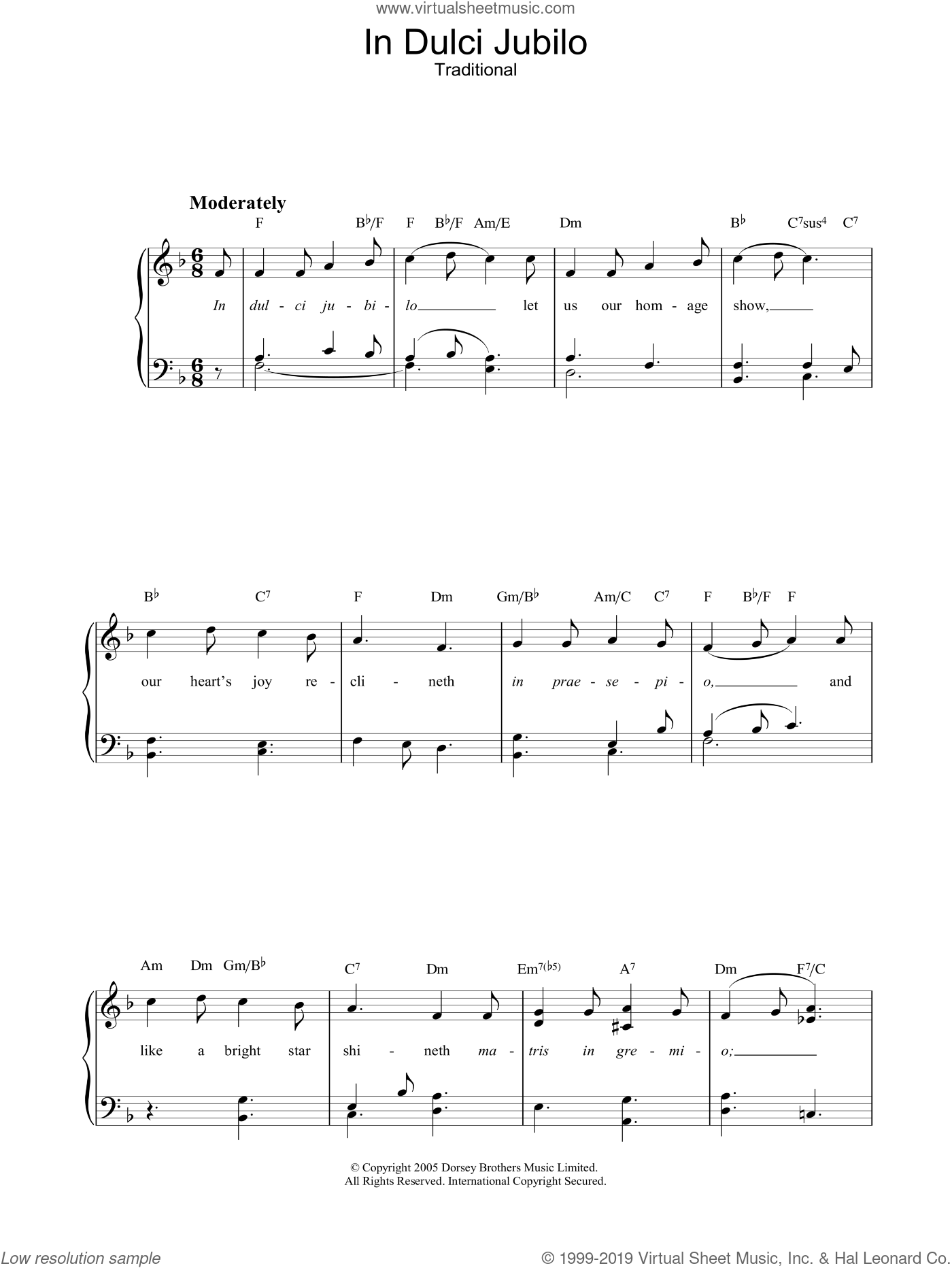 In Dulci Jubilo sheet music for piano solo (chords) by R.L. Pearsall