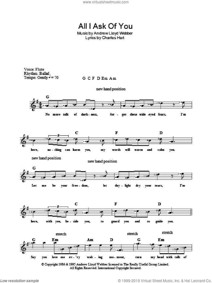 All I Ask Of You sheet music for voice and other instruments (fake book) by Andrew Lloyd Webber, Charles Hart and Richard Stilgoe, intermediate skill level