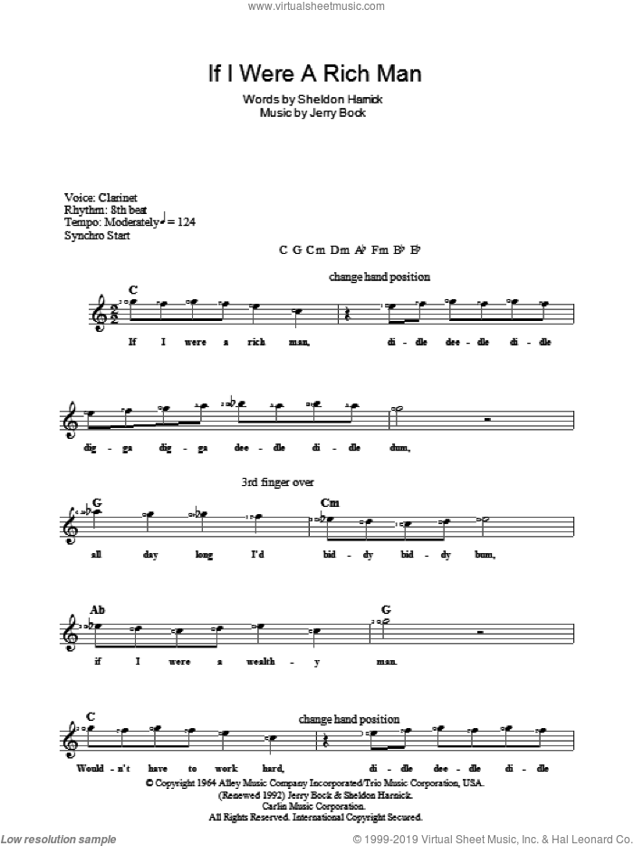 If I Were A Rich Man (from The Fiddler On The Roof) sheet music for voice and other instruments (fake book) by Jerry Bock, Bock & Harnick and Sheldon Harnick, intermediate skill level