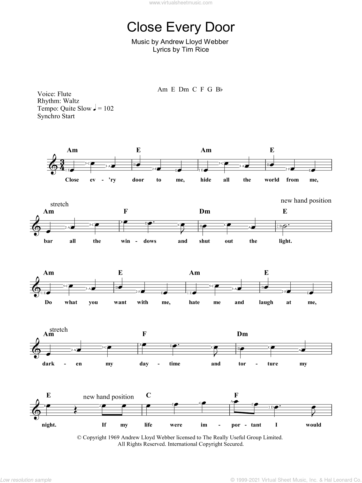 Close Every Door sheet music for voice and other instruments (fake book) by Tim Rice and Andrew Lloyd Webber. Score Image Preview.