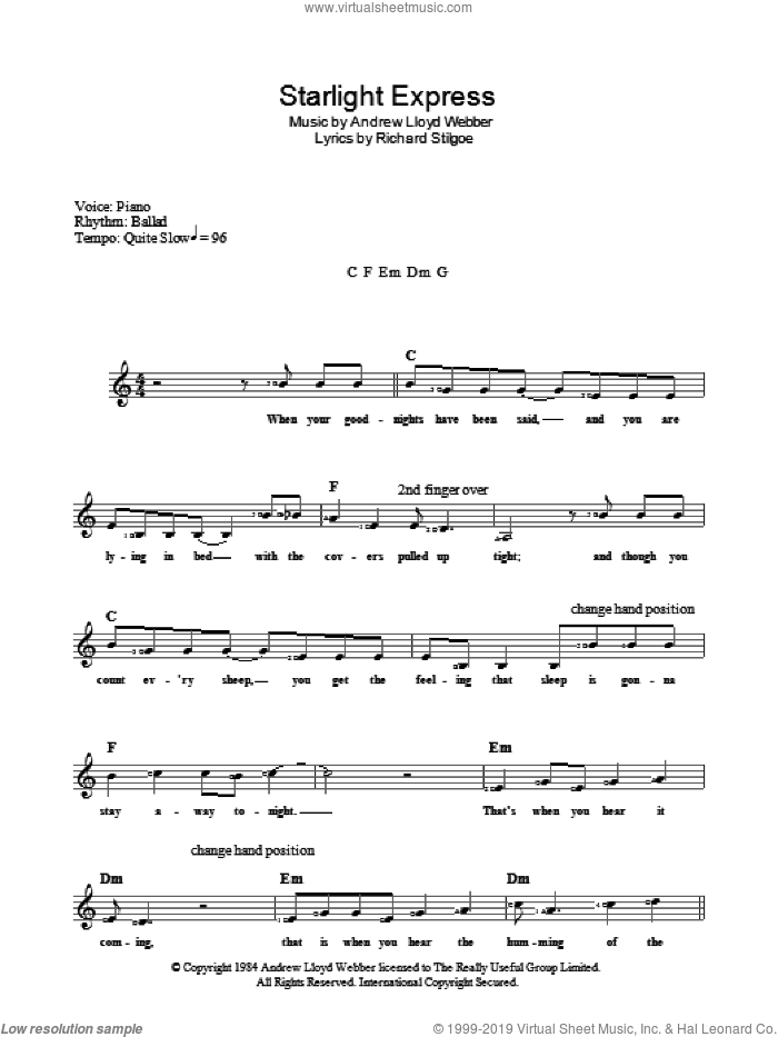Starlight Express sheet music for voice and other instruments (fake book) by Andrew Lloyd Webber and Richard Stilgoe, intermediate skill level