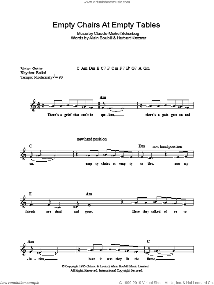 Empty Chairs At Empty Tables sheet music for voice and other instruments (fake book) by Alain Boublil, Claude-Michel Schonberg and Herbert Kretzmer, intermediate skill level