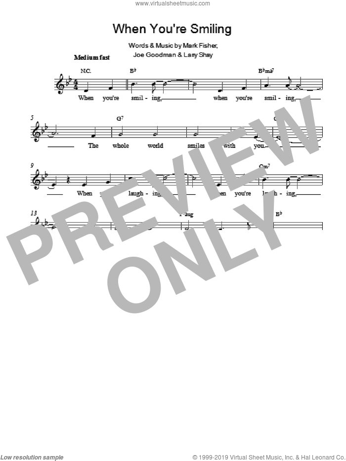 When You're Smiling (The Whole World Smiles With You) sheet music for voice and other instruments (fake book) by Louis Armstrong, Larry Shay and Mark Fisher. Score Image Preview.
