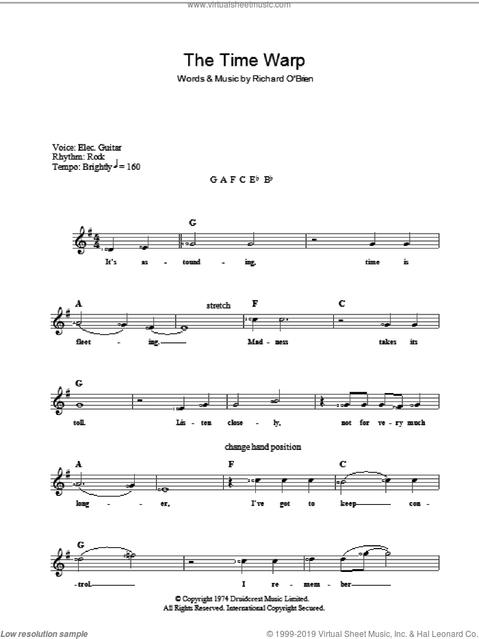 Time Warp sheet music for voice and other instruments (fake book) by Richard O'Brien, intermediate voice. Score Image Preview.