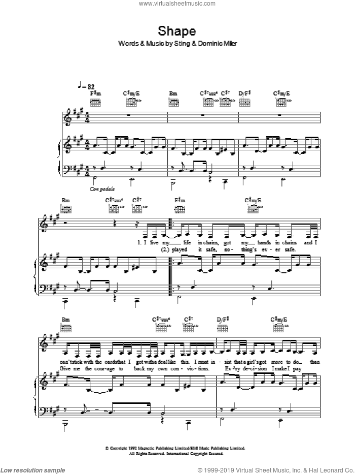 Shape sheet music for voice, piano or guitar by Sugababes and Sting. Score Image Preview.