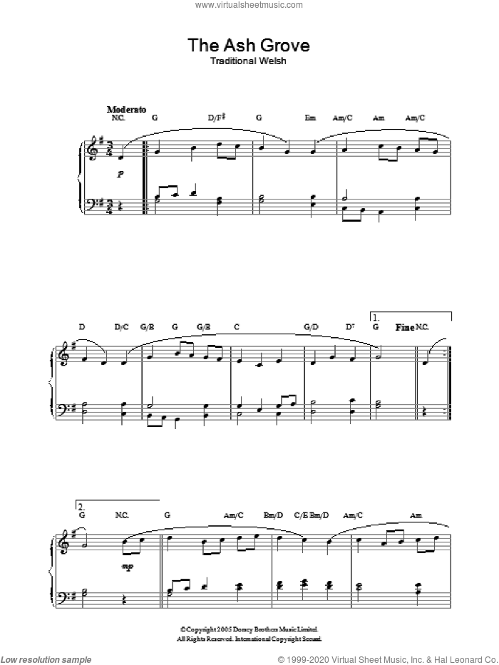 The Ash Grove sheet music for piano solo by Old Welsh Air and Miscellaneous. Score Image Preview.
