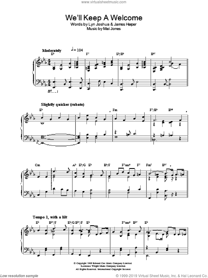 We'll Keep A Welcome sheet music for piano solo by Mai Jones, James Harper and Lyn Joshua, intermediate. Score Image Preview.