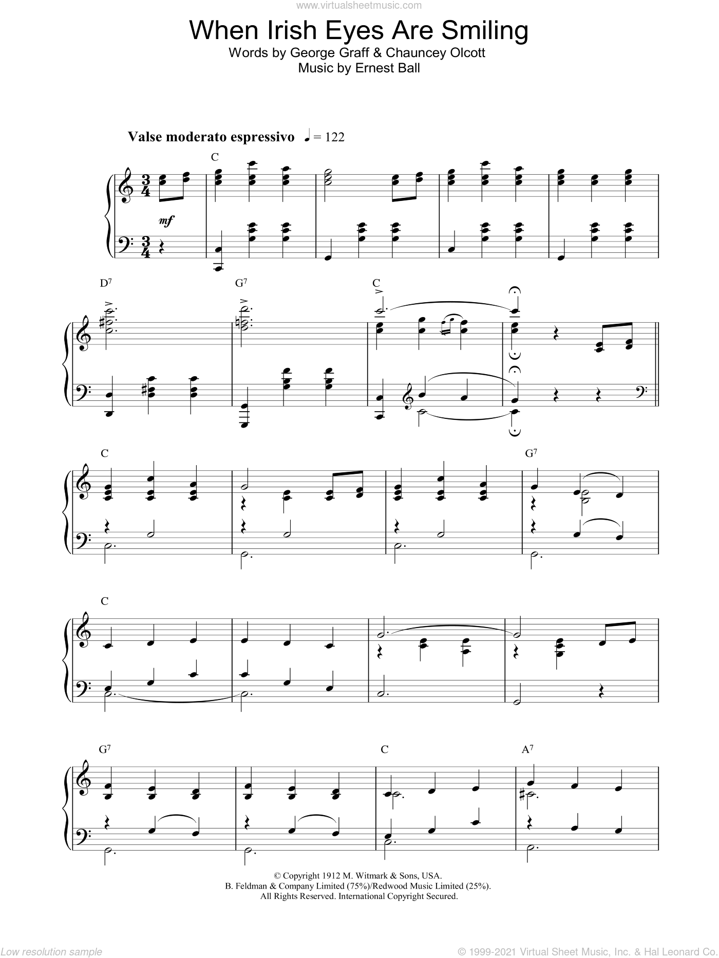 When Irish Eyes Are Smiling sheet music for piano solo by George Graff Jr.