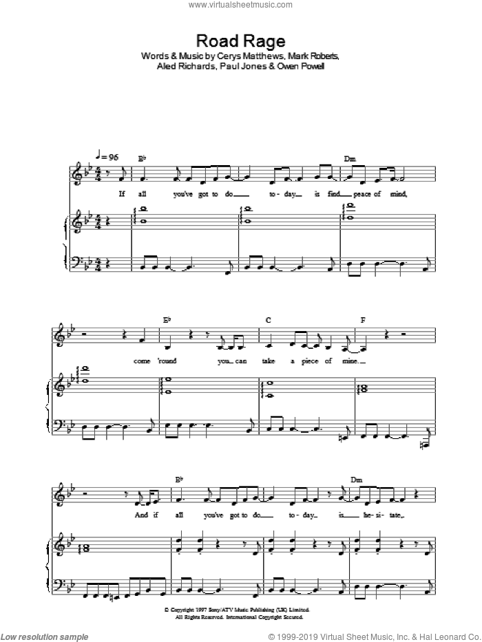 Road Rage sheet music for voice, piano or guitar by Catatonia, Aled Richards, Allan Roberts, Cerys Matthews, Mark Roberts, MATTHEWS, Owen Powell and Paul Jones, intermediate skill level
