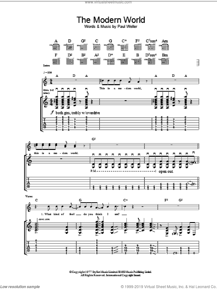 The Modern World sheet music for guitar (tablature) by The Jam and Paul Weller, intermediate skill level