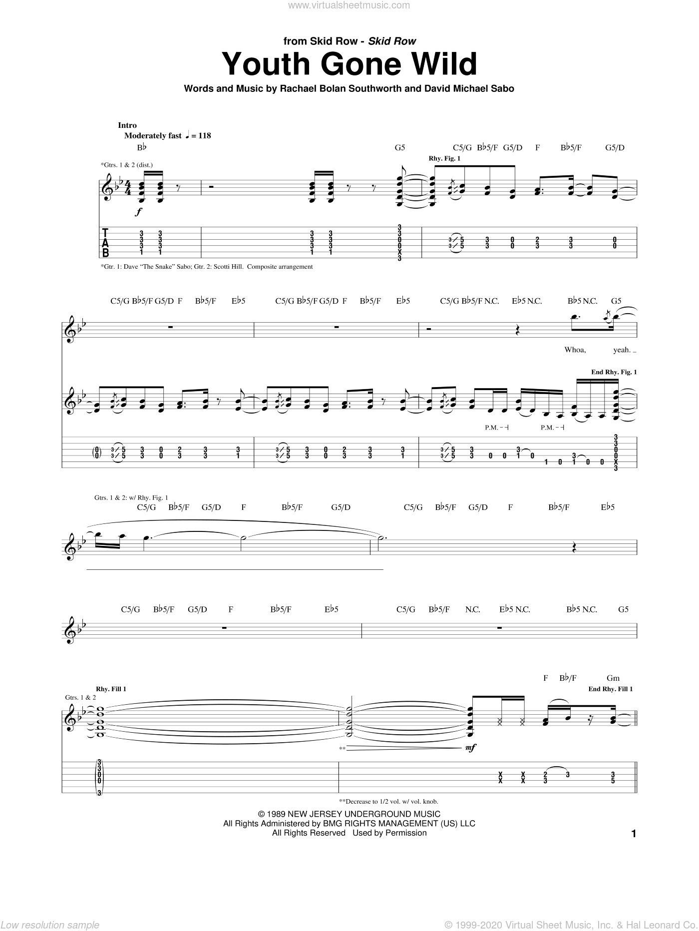 Youth Gone Wild sheet music for guitar (tablature) by Rachel Bolan. Score Image Preview.