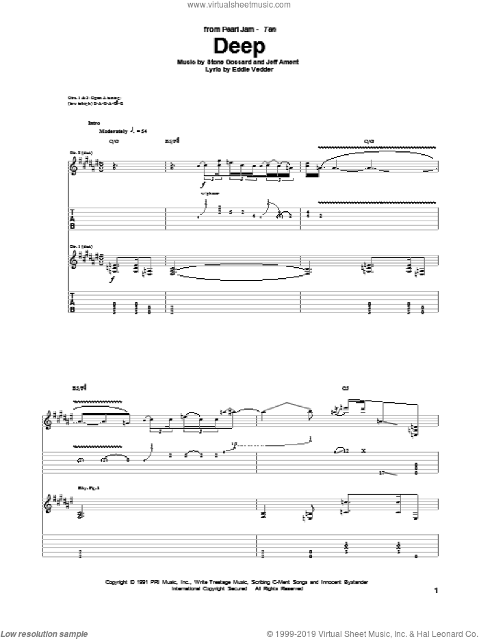 Deep sheet music for guitar (tablature) by Stone Gossard