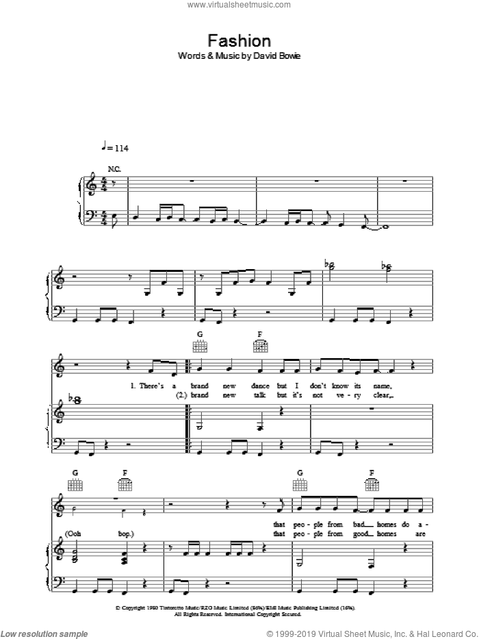 Fashion sheet music for voice, piano or guitar by David Bowie. Score Image Preview.