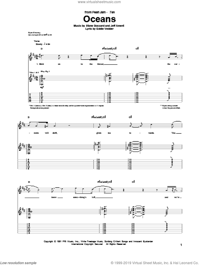 Oceans sheet music for guitar (tablature) by Stone Gossard
