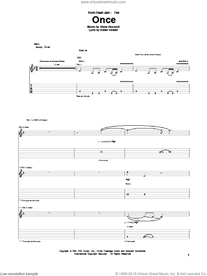 Once sheet music for guitar (tablature) by Stone Gossard, Pearl Jam and Eddie Vedder. Score Image Preview.