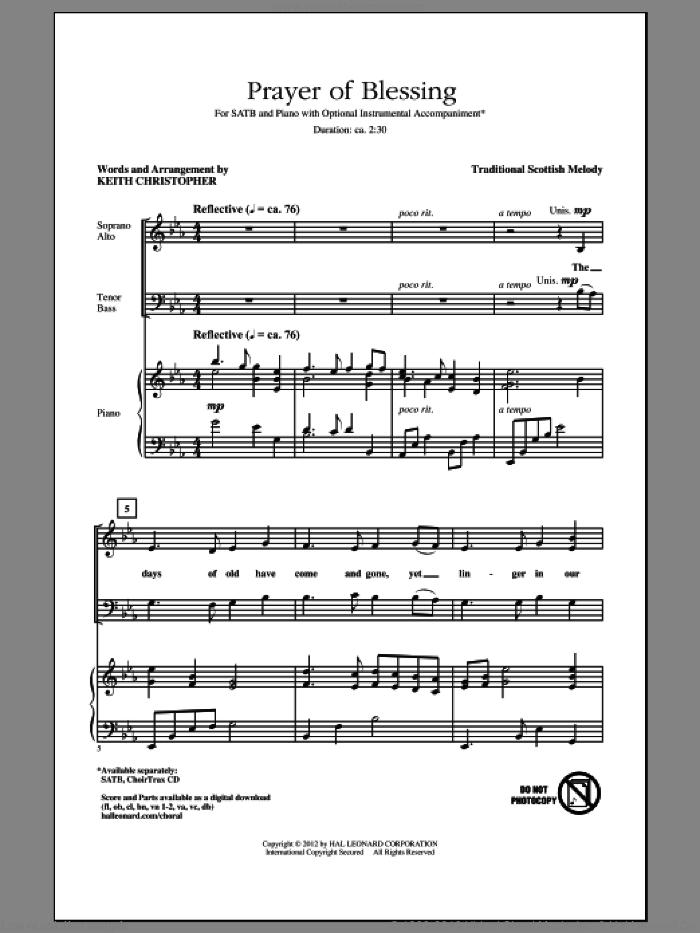 Prayer Of Blessing sheet music for choir (SATB) by Keith Christopher, intermediate choir (SATB). Score Image Preview.