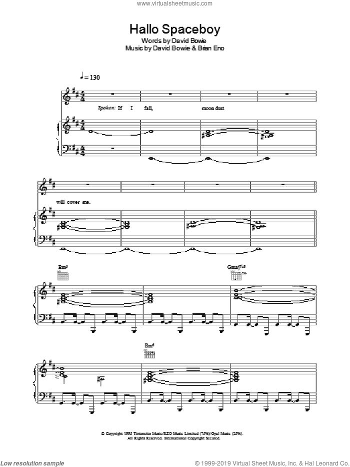 Hallo Spaceboy sheet music for voice, piano or guitar by David Bowie and Brian Eno, intermediate skill level