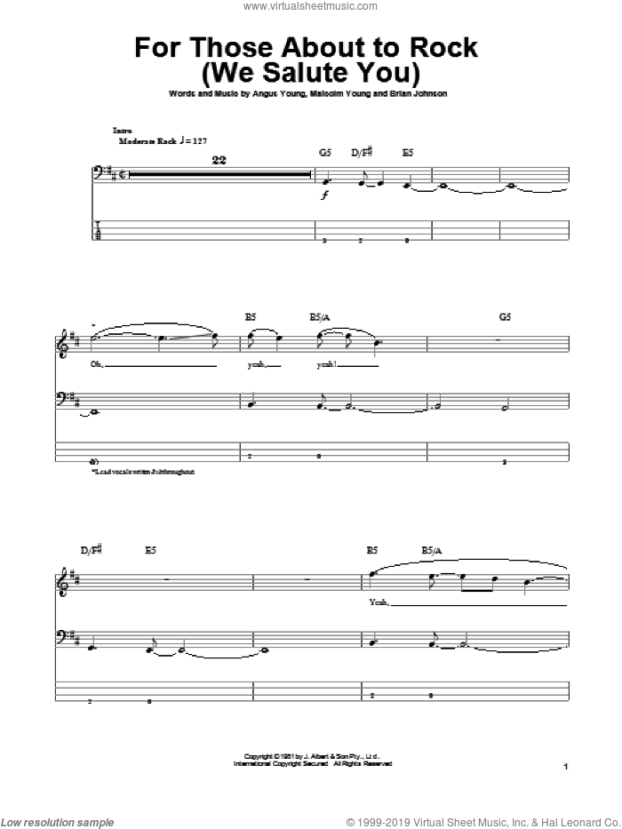 For Those About To Rock (We Salute You) sheet music for bass (tablature) (bass guitar) by Malcolm Young, AC/DC and Angus Young. Score Image Preview.