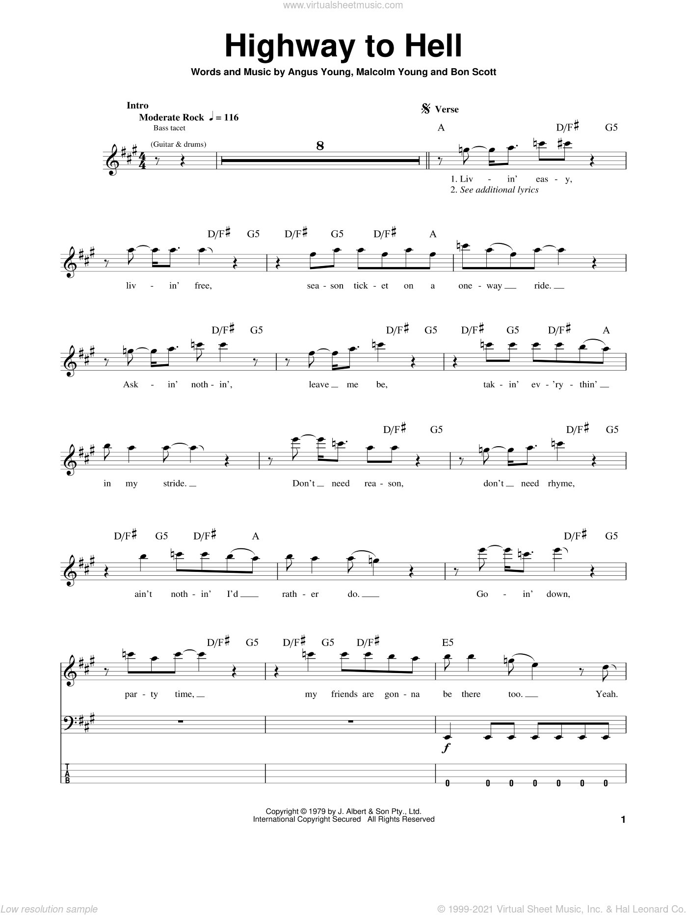 Highway To Hell sheet music for bass (tablature) (bass guitar) by AC/DC. Score Image Preview.