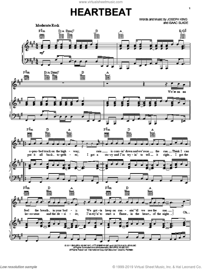 Heartbeat sheet music for voice, piano or guitar by The Fray, Isaac Slade and Joseph King, intermediate. Score Image Preview.