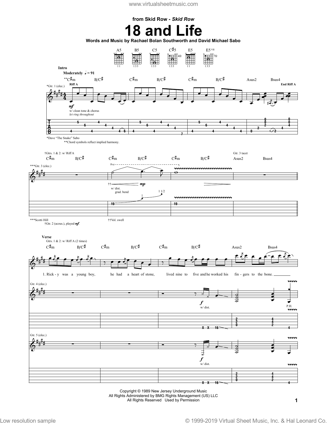 18 And Life sheet music for guitar (tablature) by Skid Row, David Michael Sabo and Rachael Bolan Southworth, intermediate