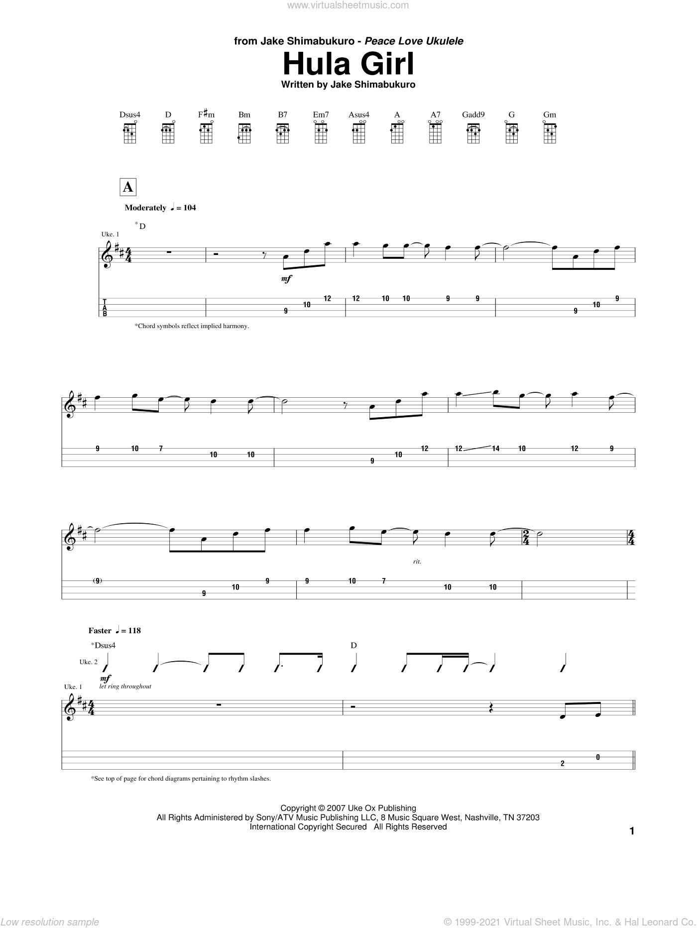 Hula Girl sheet music for ukulele by Jake Shimabukuro, intermediate skill level