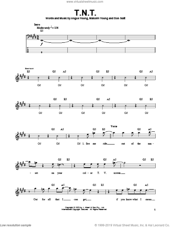 T.N.T. sheet music for bass (tablature) (bass guitar) by AC/DC, intermediate. Score Image Preview.