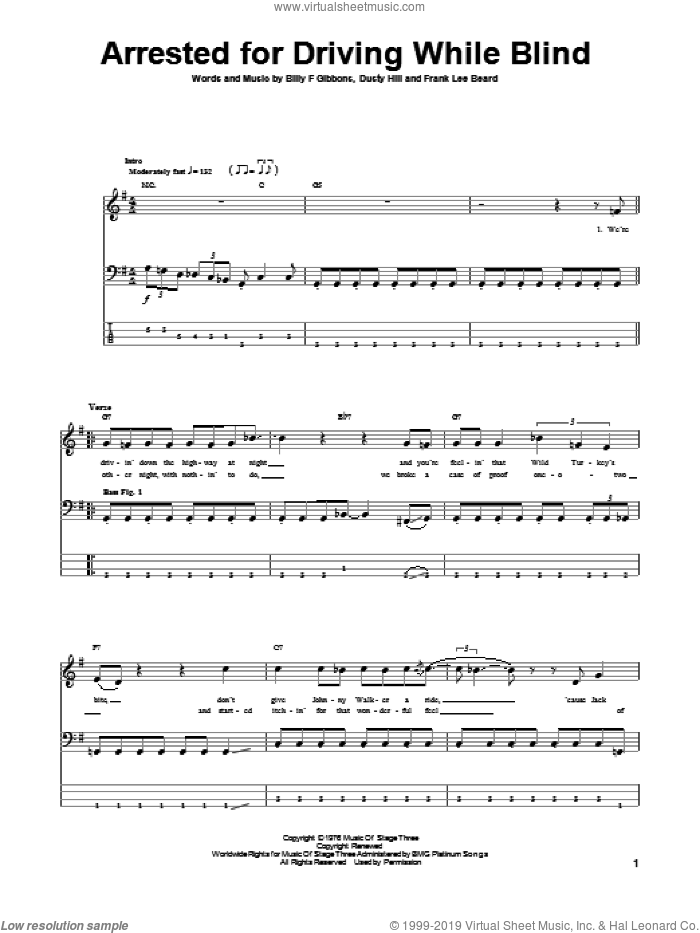 Arrested For Driving While Blind sheet music for bass (tablature) (bass guitar) by ZZ Top, Billy Gibbons, Dusty Hill and Frank Beard, intermediate skill level