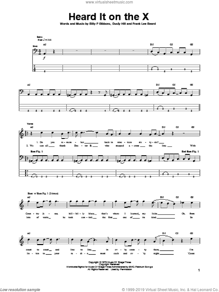 Heard It On The X sheet music for bass (tablature) (bass guitar) by ZZ Top, Billy Gibbons, Dusty Hill and Frank Beard, intermediate skill level