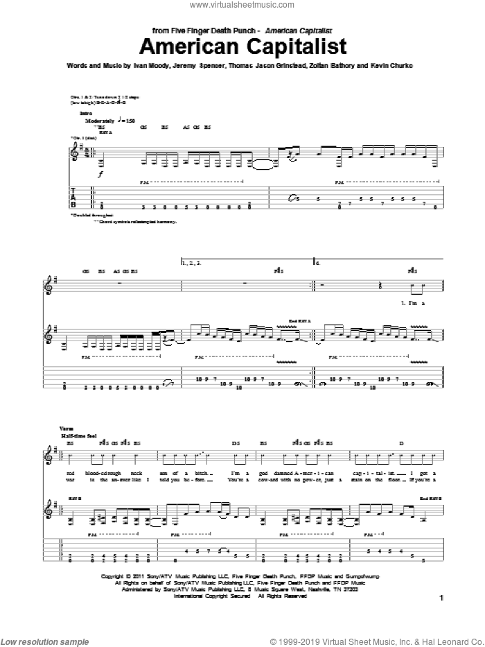American Capitalist sheet music for guitar (tablature) by Five Finger Death Punch, Ivan Moody, Jeremy Spencer, Kevin Churko, Thomas Jason Grinstead and Zoltan Bathory, intermediate skill level