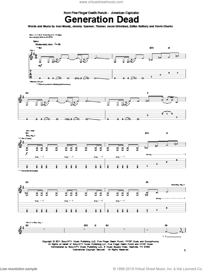 Generation Dead sheet music for guitar (tablature) by Five Finger Death Punch, Ivan Moody, Jeremy Spencer, Kevin Churko, Thomas Jason Grinstead and Zoltan Bathory, intermediate