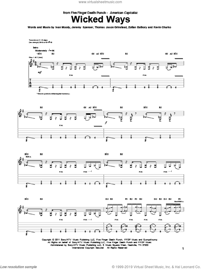 Wicked Ways sheet music for guitar (tablature) by Zoltan Bathory