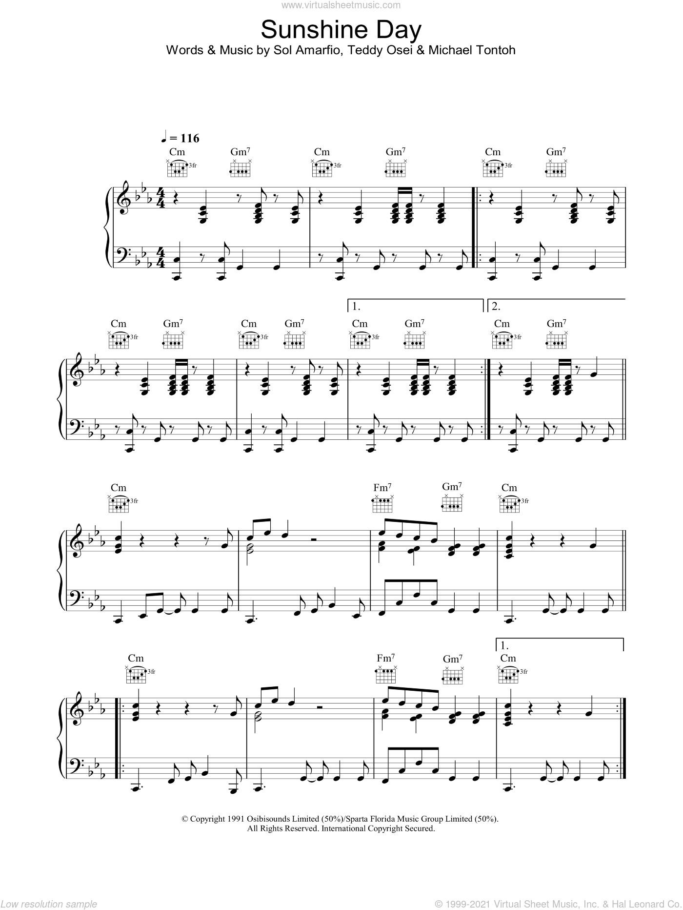 Sunshine Day sheet music for voice, piano or guitar by Teddy Osei