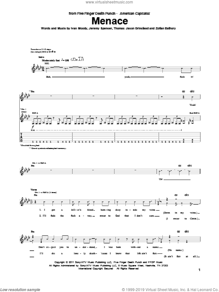 Menace sheet music for guitar (tablature) by Five Finger Death Punch. Score Image Preview.