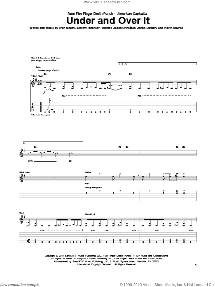 Under And Over It sheet music for guitar (tablature) by Zoltan Bathory, Five Finger Death Punch and Kevin Churko. Score Image Preview.