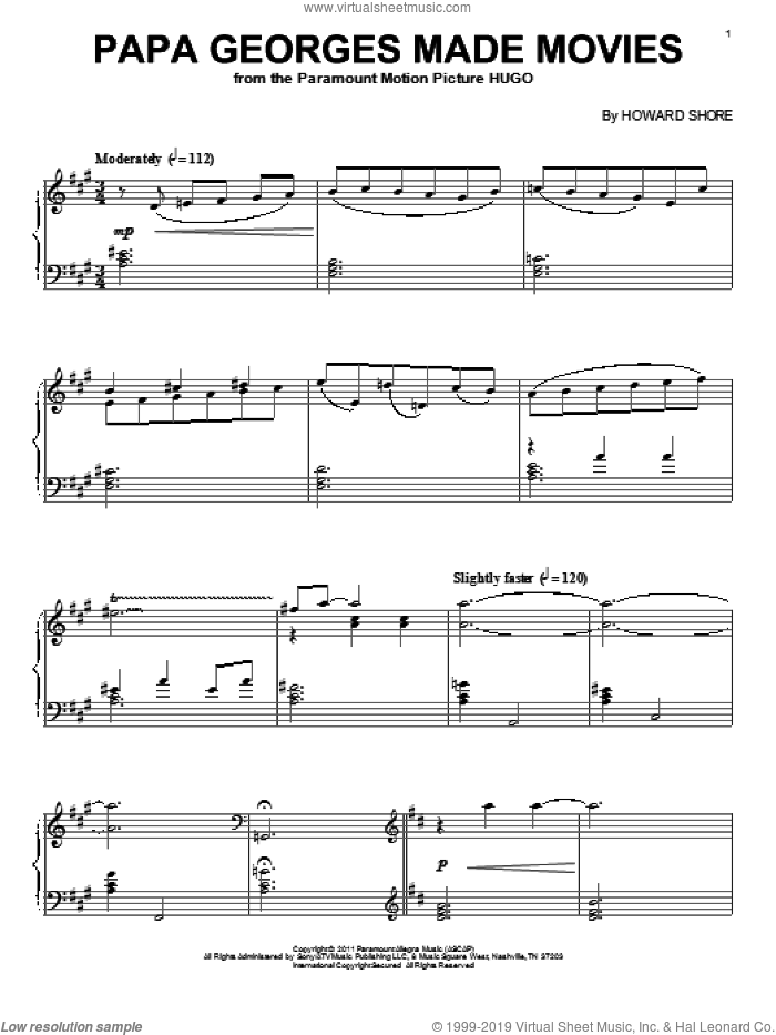 Papa Georges Made Movies sheet music for piano solo by Howard Shore, intermediate skill level