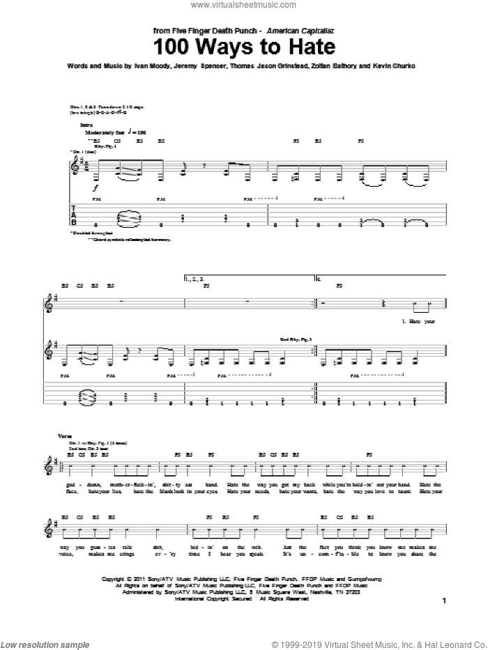 100 Ways To Hate sheet music for guitar (tablature) by Five Finger Death Punch, intermediate guitar (tablature). Score Image Preview.