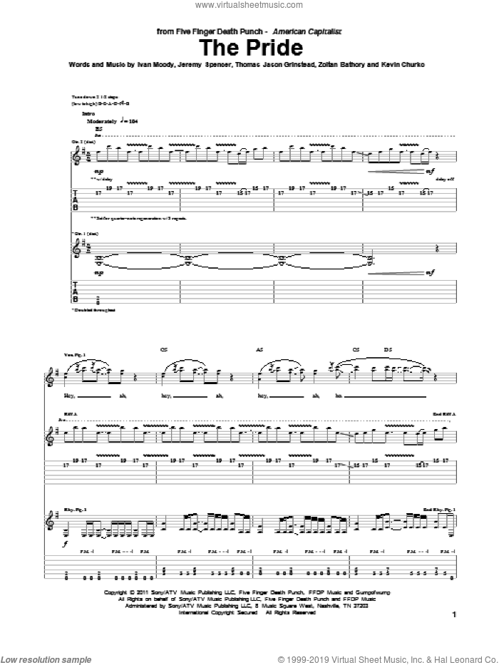 The Pride sheet music for guitar (tablature) by Zoltan Bathory, Five Finger Death Punch and Kevin Churko. Score Image Preview.