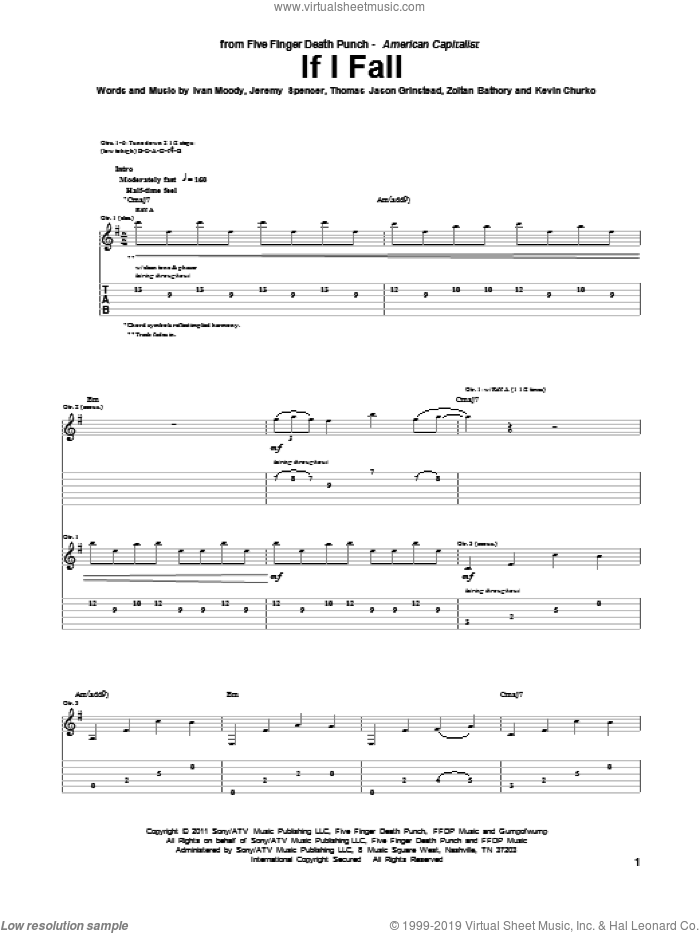 If I Fall sheet music for guitar (tablature) by Five Finger Death Punch, Ivan Moody, Jeremy Spencer, Kevin Churko, Thomas Jason Grinstead and Zoltan Bathory, intermediate skill level