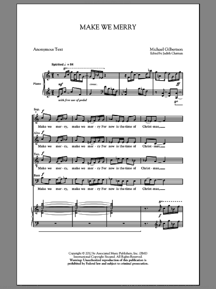 Make We Merry sheet music for choir (SATB) by Judith Clurman and Michael Gilbertson