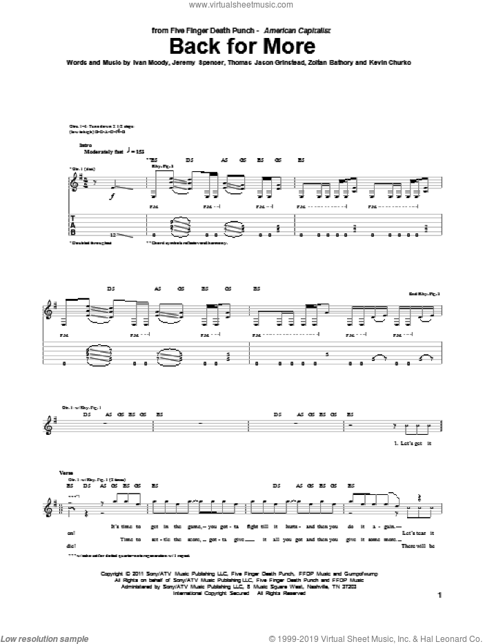 Back For More sheet music for guitar (tablature) by Zoltan Bathory, Five Finger Death Punch and Kevin Churko. Score Image Preview.