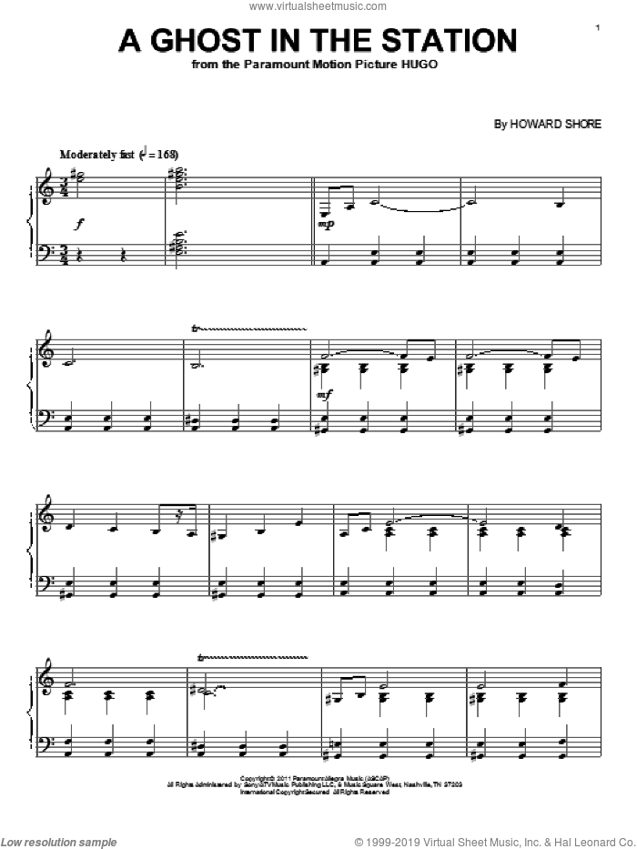 A Ghost In The Station sheet music for piano solo by Howard Shore and Hugo (movie), intermediate skill level