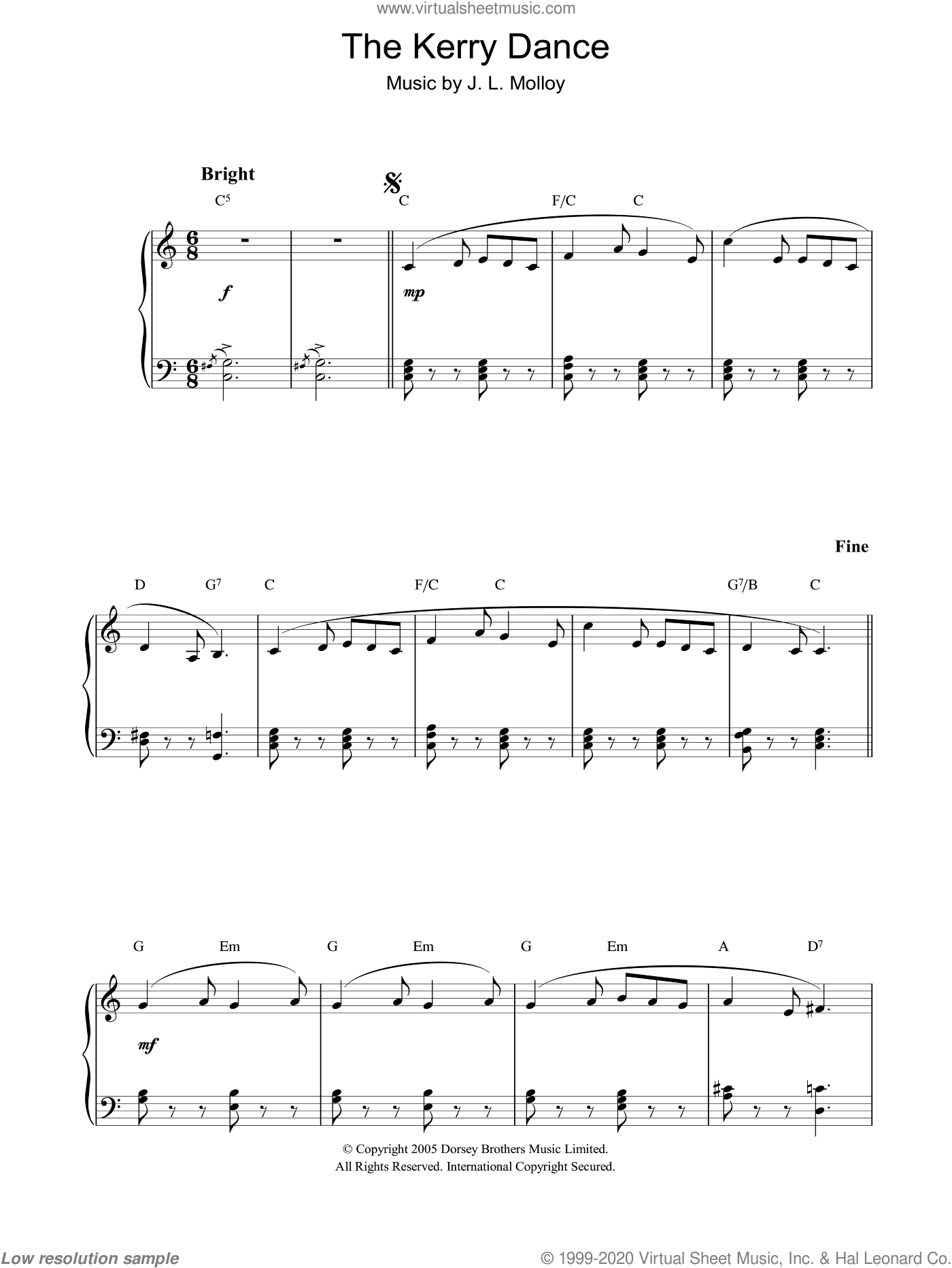 Kerry Dance sheet music for piano solo by James Molloy. Score Image Preview.