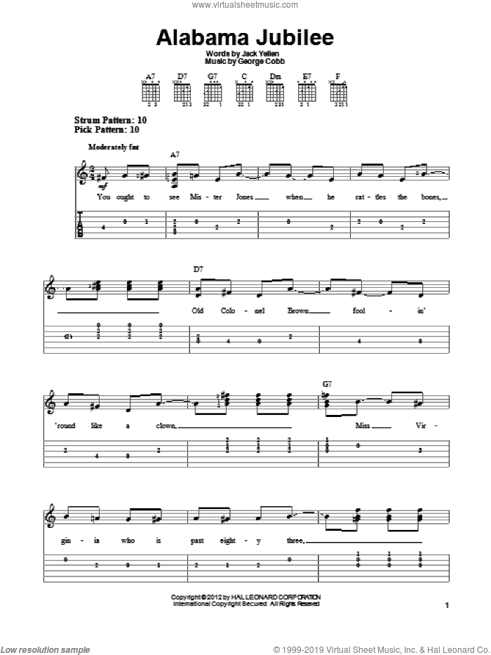 Alabama Jubilee sheet music for guitar solo (easy tablature) by Arthur Collins & Byron Harlan, George L. Cobb and Jack Yellen, easy guitar (easy tablature). Score Image Preview.