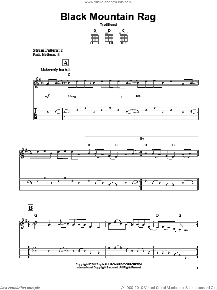 Black Mountain Rag sheet music for guitar solo (easy tablature). Score Image Preview.