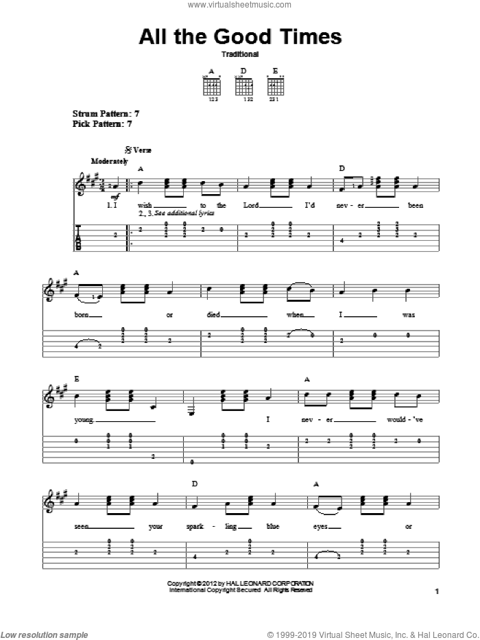 All The Good Times sheet music for guitar solo (easy tablature), easy guitar (easy tablature). Score Image Preview.