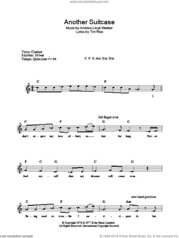 Another Suitcase In Another Hall sheet music for voice and other instruments (fake book) by Andrew Lloyd Webber, Evita (Musical) and Tim Rice, intermediate skill level